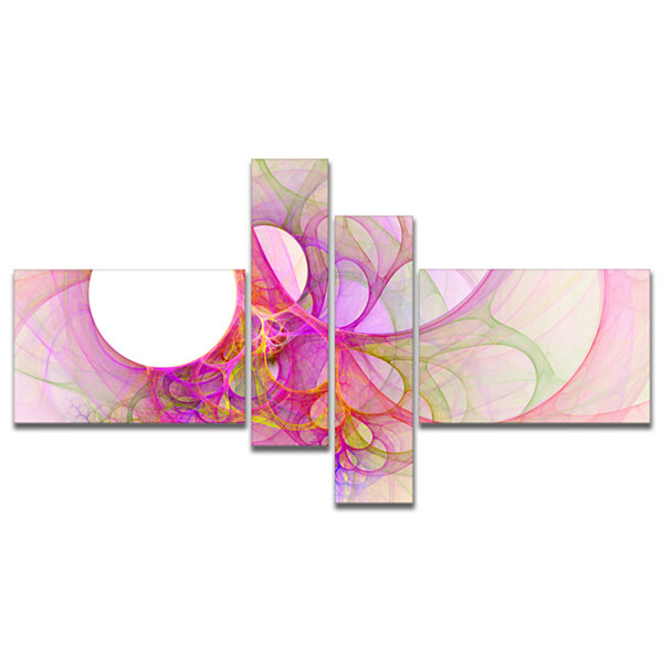 Designart Light Pink Angel Wings On White Multipanel Abstract Wall Art Canvas - 4 Panels