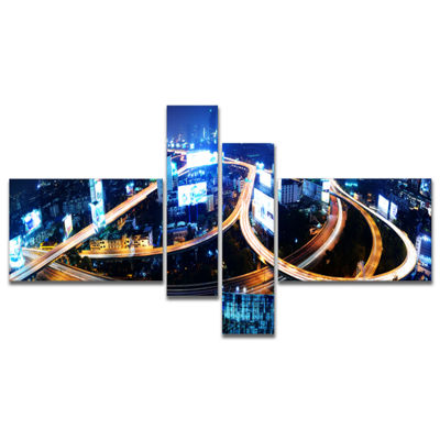 Designart Bangkok Expressway Aerial View Multipanel Cityscape Photo Canvas Print - 4 Panels