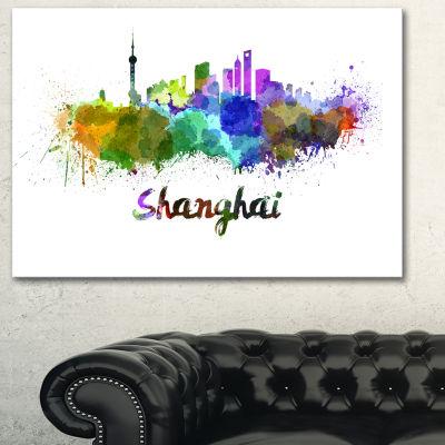 Designart Shanghai Skyline Cityscape Canvas Artwork Print - 3 Panels