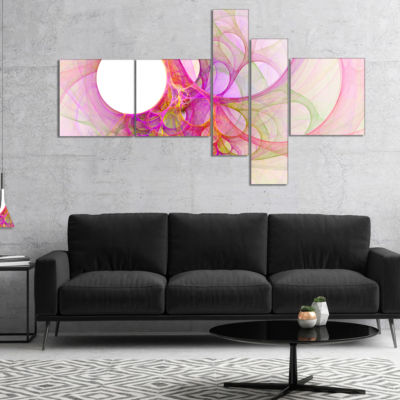 Designart Light Pink Angel Wings On White Multipanel Abstract Wall Art Canvas - 5 Panels
