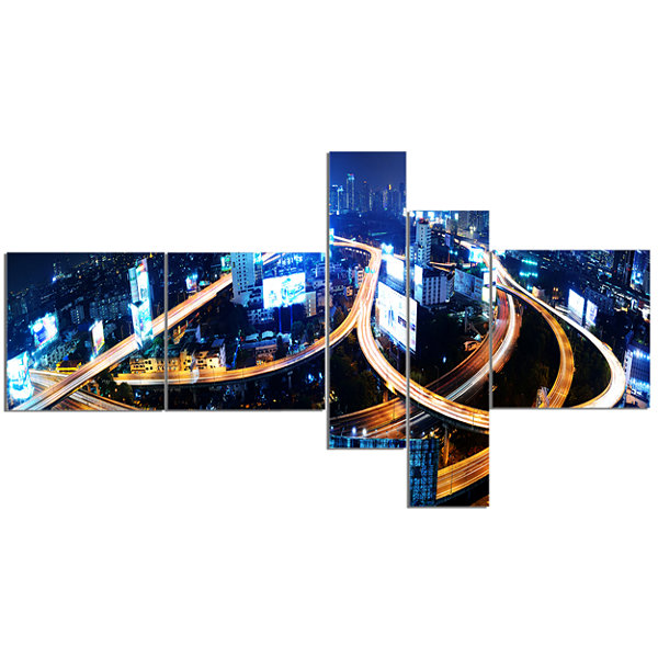 Designart Bangkok Expressway Aerial View Multipanel Cityscape Photo Canvas Print - 5 Panels
