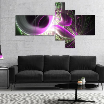 Designart Light Purple Designs On Black MultipanelAbstract Wall Art Canvas - 4 Panels