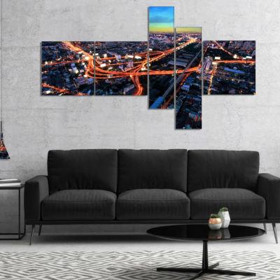 Designart Bangkok Expressway Aerial View Multipanel Extra Large Canvas Art Print - 4 Panels