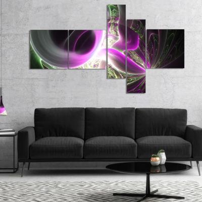 Designart Light Purple Designs On Black MultipanelAbstract Wall Art Canvas - 5 Panels