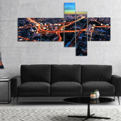 Designart Bangkok Expressway Aerial View Multipanel Extra Large Canvas Art Print - 5 Panels