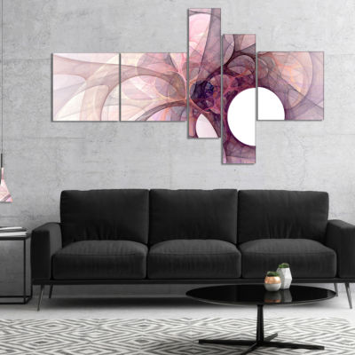 Designart Light Purple Fractal Angel Wings Multipanel Abstract Wall Art Canvas - 4 Panels