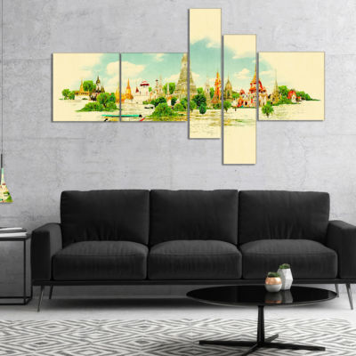 Designart Bangkok Panoramic View Multipanel Cityscape Watercolor Canvas Print - 5 Panels