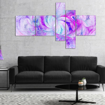 Designart Light Purple Fractal Texture MultipanelAbstract Canvas Art Print - 4 Panels