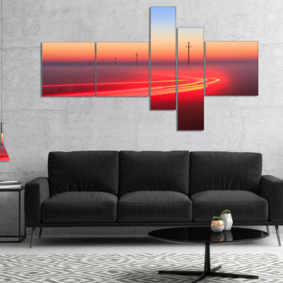 Designart Barcelona Street Traffic Trail Multipanel Extra Large Canvas Art Print - 5 Panels