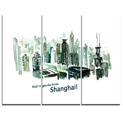Designart Shanghai Vector Illustration CityscapePainting Canvas Print - 3 Panels