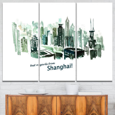 Designart Shanghai Vector Illustration Cityscape Painting Canvas Print - 3 Panels