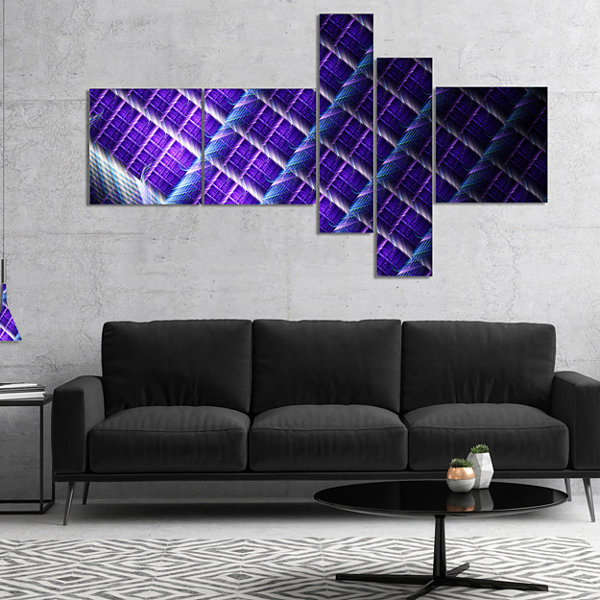 Designart Light Purple Metal Grill Multipanel Abstract Art On Canvas - 5 Panels