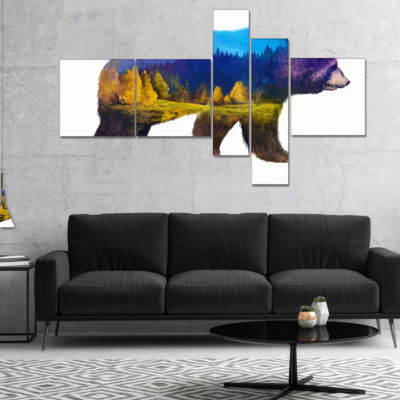 Designart Bear Double Exposure Illustration Multipanel Large Animal Canvas Art Print - 4 Panels