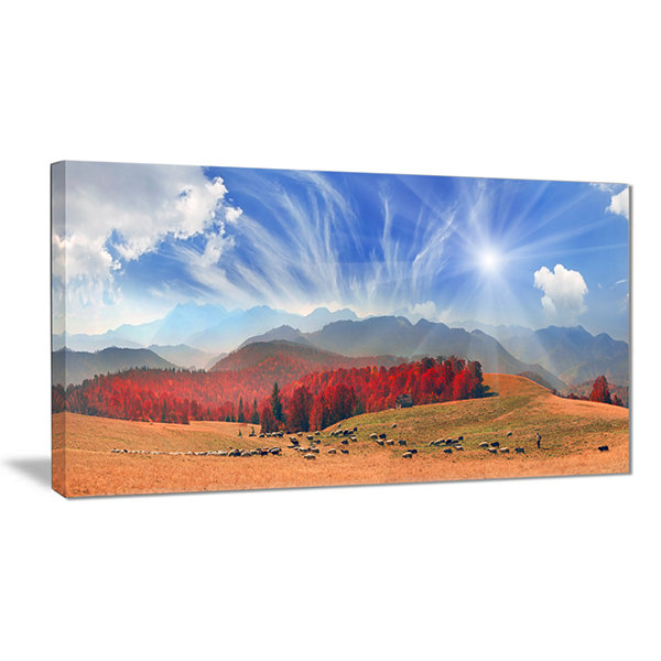 Designart Sheep Herd At Carpathians Landscape Photography Canvas Print