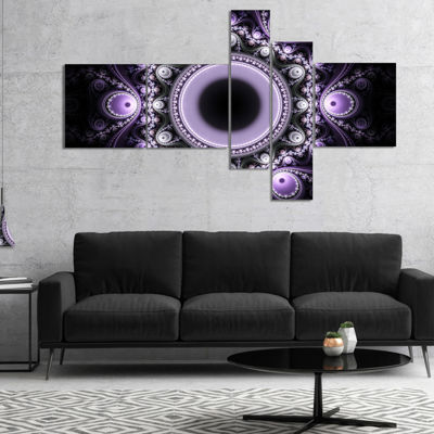Designart Light Purple Pattern With Circles Multipanel Abstract Canvas Art Print - 5 Panels