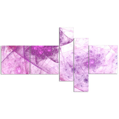 Designart Light Purple Rotating Polyhedron Multipanel Abstract Canvas Wall Art - 5 Panels