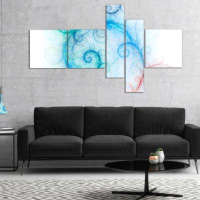Designart Beautiful Blue Fractal Pattern Multipanel Abstract Wall Art Canvas - 5 Panels