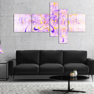 Designart Light Purple Watercolor Fractal Art Multipanel Abstract Art On Canvas - 5 Panels