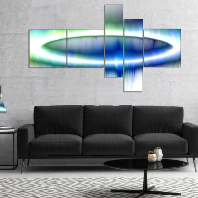 Designart Beautiful Blue Northern Lights Multipanel Abstract Canvas Art Print - 4 Panels