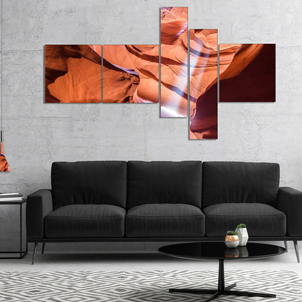 Designart Light To Antelope Canyon Multipanel Landscape Photography Canvas Print - 5 Panels