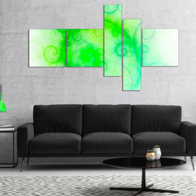 Designart Beautiful Bright Green Pattern Multipanel Abstract Wall Art Canvas - 4 Panels