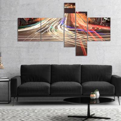 Designart Light Traces On Crossroad Multipanel Cityscape Digital Art Canvas Print - 4 Panels