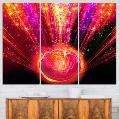 Designart Shining Radical Blast With Magic Ball Abstract Print On Canvas - 3 Panels