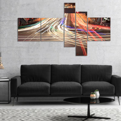 Designart Light Traces On Crossroad Multipanel Cityscape Digital Art Canvas Print - 5 Panels