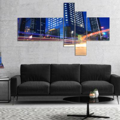Designart Light Trails In Blue City Multipanel Cityscape Digital Art Canvas Print - 5 Panels