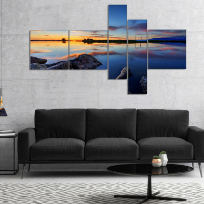 Designart Beautiful Calm Water And Sunset Multipanel Large Landscape Canvas Art - 4 Panels