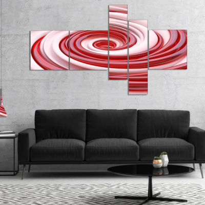 Designart Beautiful Candy Cane Spiral MultipanelAbstract Canvas Art Print - 5 Panels