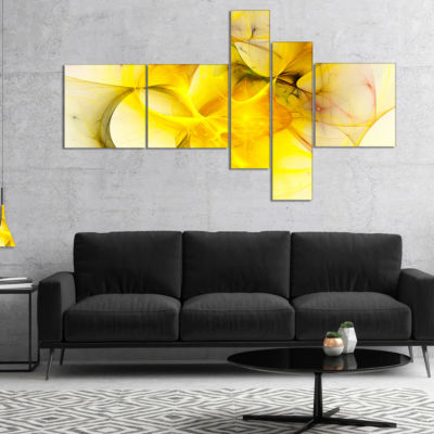 Designart Light Yellow Nebula Star Multipanel Abstract Canvas Art Print - 5 Panels