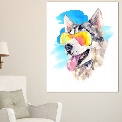 Designart Siberian Husky Dog In Sunglasses AnimalArt Canvas Print - 3 Panels