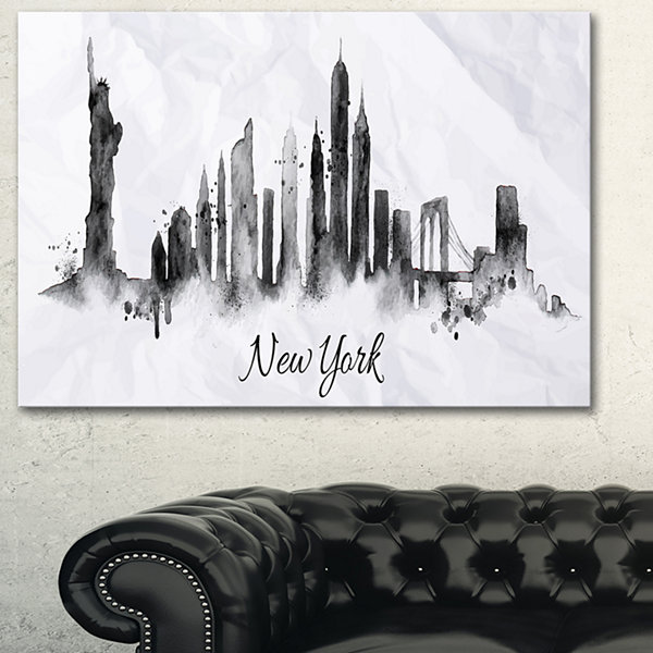 Designart Silhouette Ink New York Cityscape CanvasArt Print