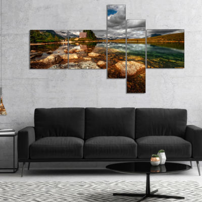 Design Art Beautiful Clear Mountain Lake MultipanelLandscape Canvas Art Print - 4 Panels