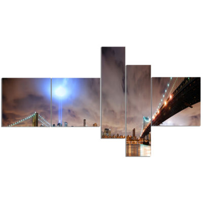 Design Art Lighted New York City Multipanel Cityscape Photo Canvas Print - 5 Panels