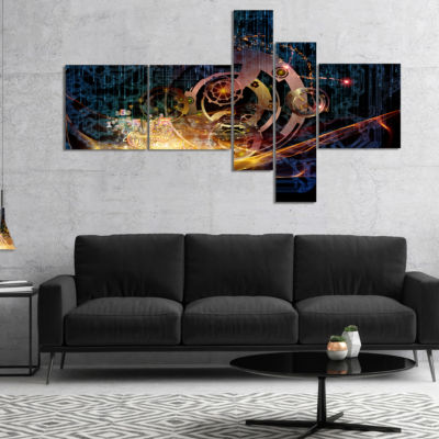 Designart Lights Of Gears Multipanel Abstract Canvas Art Print - 4 Panels