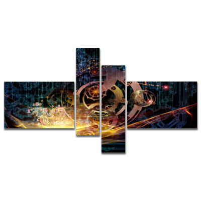 Design Art Lights Of Gears Multipanel Abstract Canvas Art Print - 4 Panels