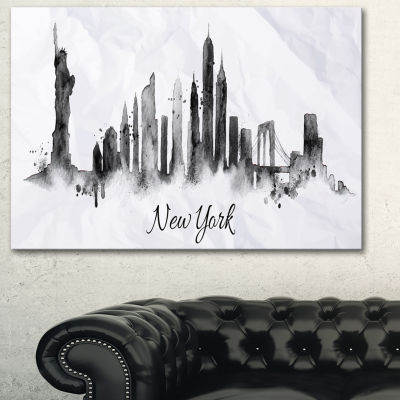 Designart Silhouette Ink New York Cityscape CanvasArt Print - 3 Panels