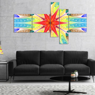 Designart Beautiful Colorful Stained Glass Multipanel Abstract Wall Art Canvas - 5 Panels