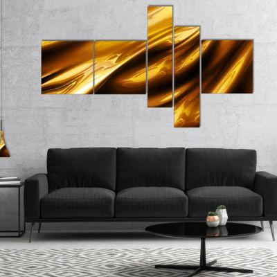 Designart Liquid Gold Texture Pattern MultipanelAbstract Canvas Art Print - 4 Panels