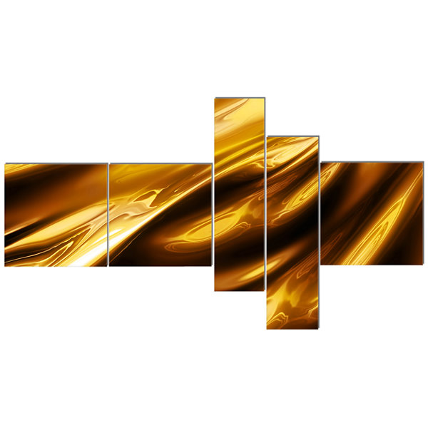 Designart Liquid Gold Texture Pattern MultipanelAbstract Canvas Art Print - 5 Panels