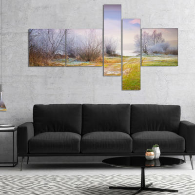 Designart Beautiful Foggy Autumn Sunset MultipanelLarge Landscape Canvas Art Print - 5 Panels