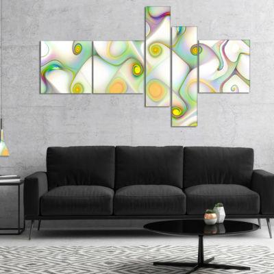 Designart Beautiful Fractal Pattern With Swirls Multipanel Abstract Wall Art Canvas - 5 Panels