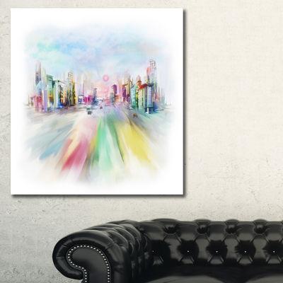 Designart Silhouette Of Big City Cityscape CanvasArt Print - 3 Panels