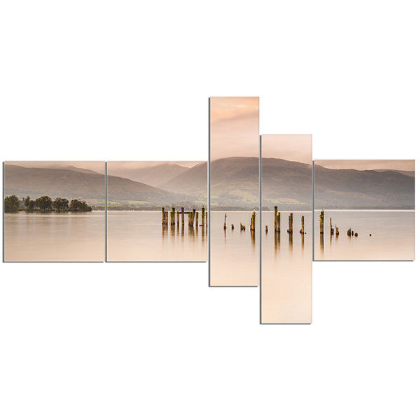 Designart Loch Lomond Jetty And Mountains Multipanel Landscape Canvas Art - 5 Panels