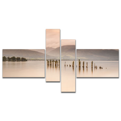 Designart Loch Lomond Jetty And Mountains Multipanel Large Landscape Canvas Art - 4 Panels