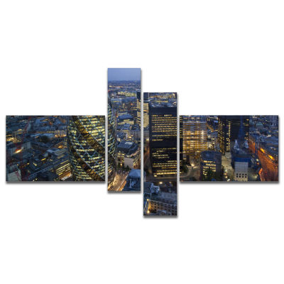 Design Art London Skyline At Sunset Multipanel Cityscape Canvas Print - 4 Panels