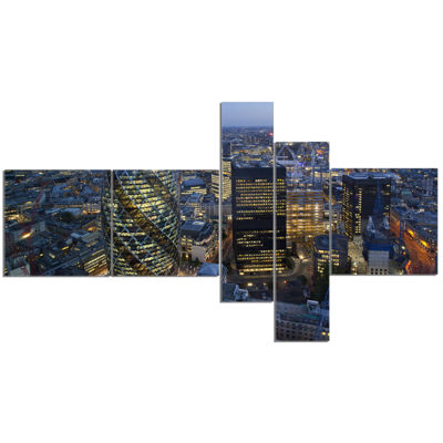Designart London Skyline At Sunset Multipanel Cityscape Canvas Print - 5 Panels