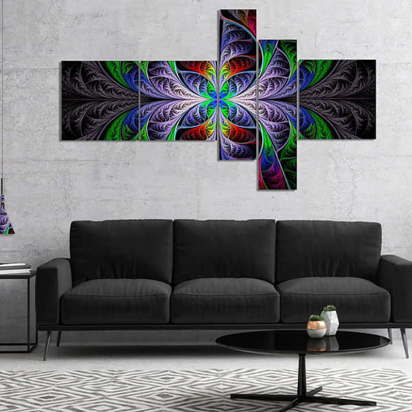 Designart Beautiful Fractal Stained Glass Multipanel Abstract Wall Art Canvas - 4 Panels